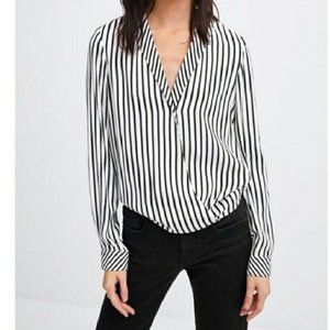 Zara Top Black White Striped Long Sleeve S…